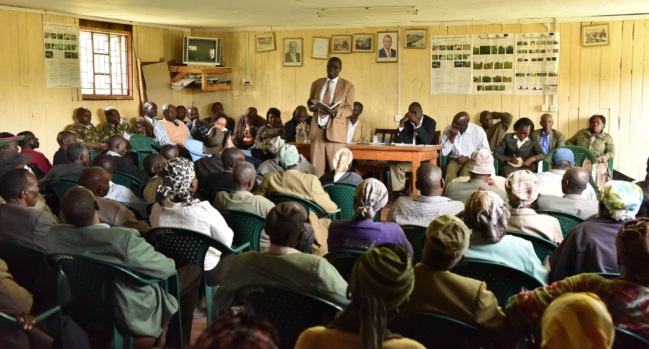 Samson Koskei, Kabngetuny Farmers Coopertative Society LTD's Chairman, speaking at the annual general assembly.
