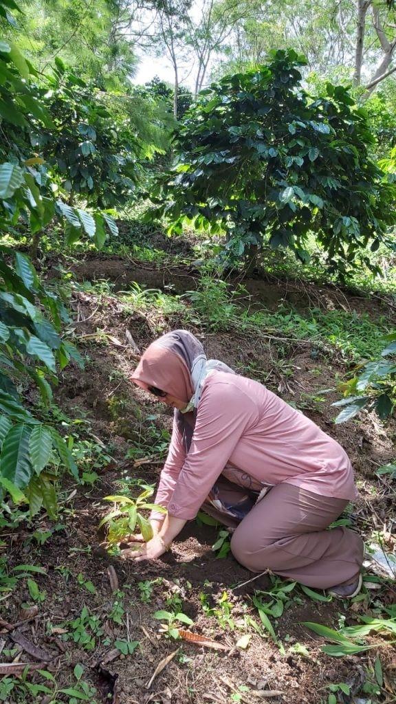"""Una ragazza mentre sta piantando un albero nell'ambito del progetto """"Save the planet"""""""